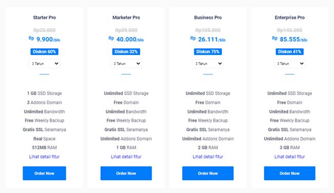 ssd web hosting unlimited murah terbaik bergaransi uang kembali