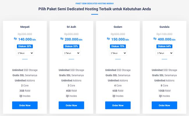 paket semi dedicated hosting murah terbaik indonesia dewabiz