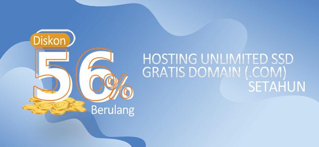 promo diskon 56% hosting unlimited ssd terbaru