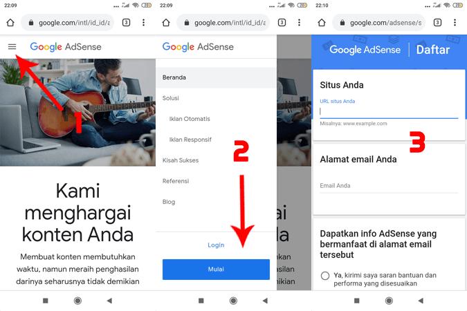 cara daftar google adsense 2020 dari hp untuk pemula