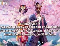 Buruan! Daftar Kode Redeem FF Terbaru 27 Agustus 2021: Voucher Skin Senjata, Diamond FF, Bundle Sakura Festival, SCAR Cupid